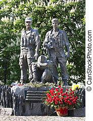 KIEV; UKRAINE - MAY 6 :Memorial to the soldiers who fought in Afghanistan internationalists; May 6; 2012 in Kiev; Ukraine