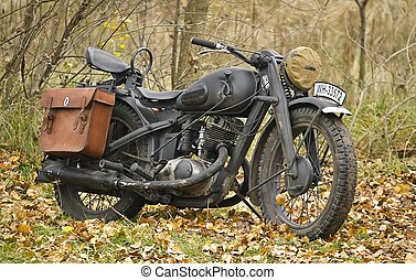 Kiev, Ukraine - November 3: German heavy motorcycle during the Second World War. Military reconstruction. History club Red Star. November 3 , 2013 in Kiev, Ukraine