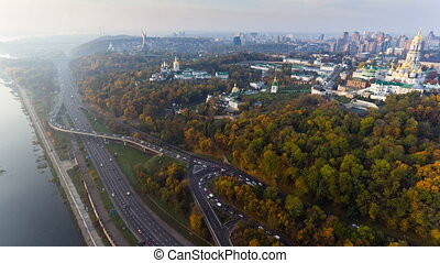 KIEV, UKRAINE October 19, 2017: Flight over the embankment of the city of Kiev, Ukraine