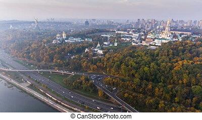 KIEV, UKRAINE October 19, 2017: Flight over the embankment...
