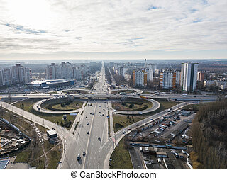 Kiev, Ukraine panoramic view of the city with high-rise ...