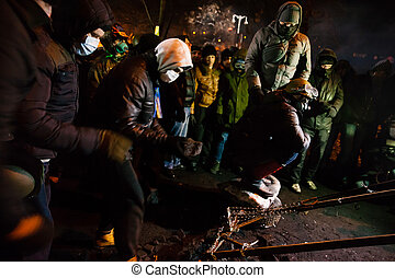 kiev, ukrainian, 24, anti-government, st., centro, ...