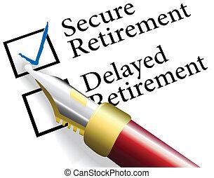 kiezen, bevestigen, pensioen, investering