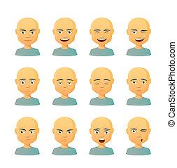 kifejezés, állhatatos, hím, avatar