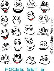kifejezések, arc, különböző, karikatúra