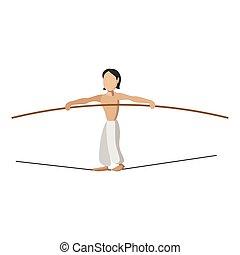 kifeszített kötél walker, karikatúra