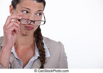 kigge, businesswoman, kritisk