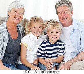 kigge, kamera, familie, glade