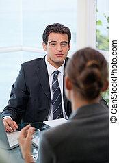kigge, klient, hans, forretningsmand
