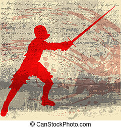 Kight Swordsman - A vector background with a medieval...