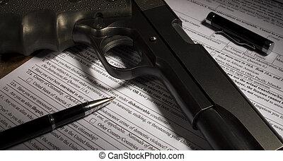 kihallgat, képben látható, a, lőfegyver, átutalás, aktagyártás