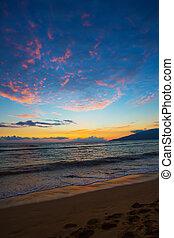 Kihei Sunset and Beach Footprints