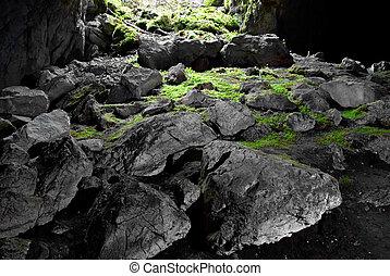kijárat, alapján, a, cave.