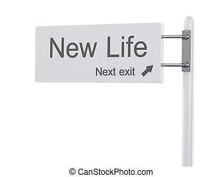 kijárat, elszigetelt, life., autóút cégtábla, 3, illustration., következő, új
