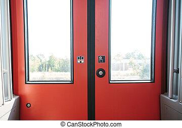 kijárat, kiképez, ajtó
