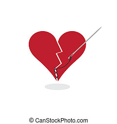 kijavítás, egy, megtört szív, fogalom, ábra