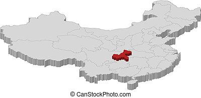 kijelölt, kína, chongqing, térkép