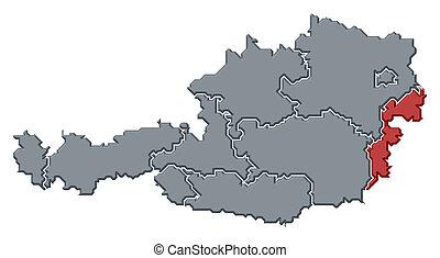 Kijelolt Terkep Burgenland Ausztria Terkep Politikai