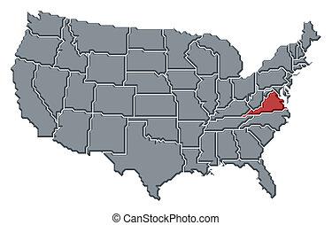 kijelölt, térkép, egyesült, virginia, egyesült államok