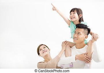 kijken weg, wijzende, gezin, vrolijke