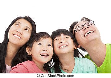 kijkend, gezin, vrolijke