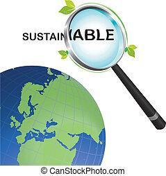 kijkend glas, duurzaam, vergroten, wereld