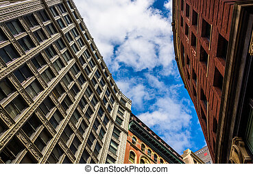kijkend op, oude architectuur, in, boston, massachusetts.