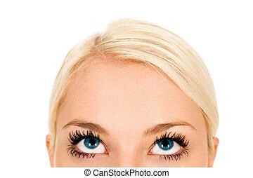 kijkende vrouw, op, close-up