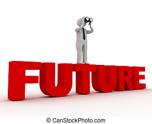 kijker, toekomst, woord, man, 3d