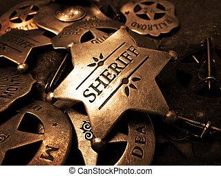 kikényszerítés, csillag, ón, sheriff's, törvény, jelvény