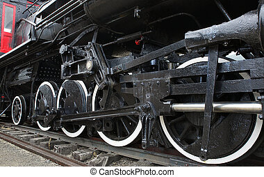 kiképez, öreg, gőz, lokomotív