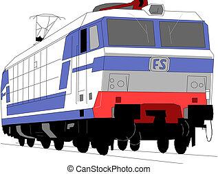kiképez, dízel, lokomotív