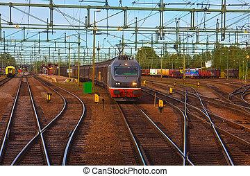 kiképez, elmenő, állomás, vasút, rakomány