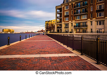 kikötő, baltimore, hosszú, sétány, maryland., belső,...