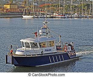 kikötő, edény, rendőrség, firefighting