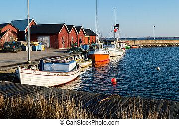 kikötő, halászhajó