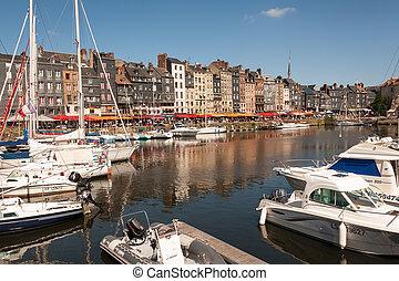 kikötő, honfleur, öreg, normandia, franciaország