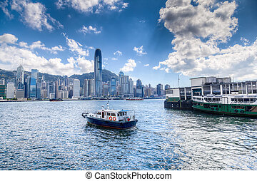 kikötő, hong kong, victoria