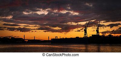 kikötő, láthatár, este