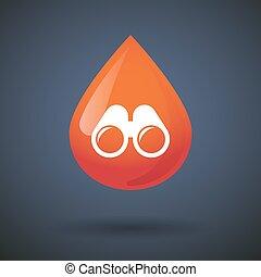 kikare, droppe, blod, ikon
