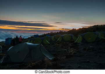 kikelelwa, kamp, kilimanjaro, zonopkomst