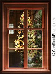 kilátás, át, a, ablak, karácsony