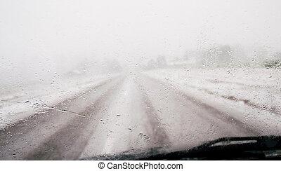 kilátás, át, nedves, autó ablak