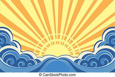 kilátás a tengerre, elvont, ábra, vektor, tenger, waves.