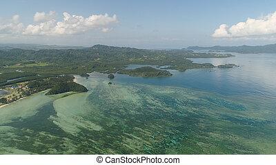 kilátás a tengerre, fülöp-szigetek, tengerpart, sea., luzon.