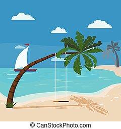 kilátás a tengerre, fa, körképszerű, sailboat., kék, tropikus, hinta, óceán, kókuszdió pálma, pálma