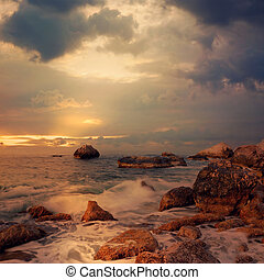 kilátás a tengerre, napkelte, idő