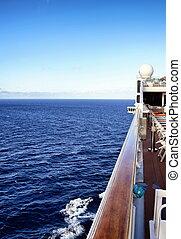 kilátás, alapján, a, fedélzet, közül, a, hajó
