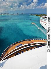 kilátás, alapján, komoly, közül, nagy, luxushajó, -, nassau, bahamas