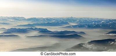 kilátás, fordíts, hegyek, közül, alps